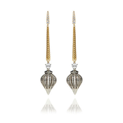 Touch Wood 18ct Gold Diamond Drop Earrings