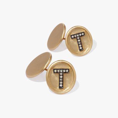 18ct Satin Gold Diamond Initial T Cufflinks