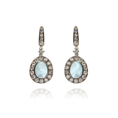 Dusty Diamonds 18ct White Gold Diamond Aquamarine Earrings