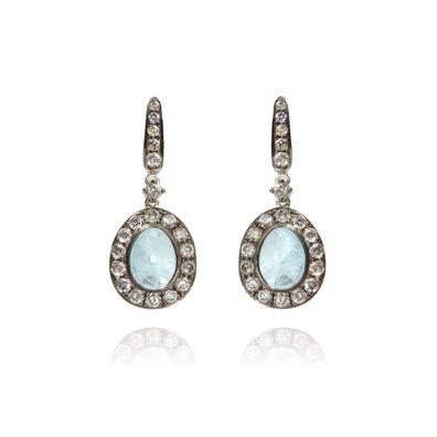 Dusty Diamonds 18ct White Gold Diamond Aquamarine Earrings c744a645e6d