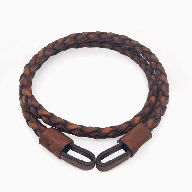 41cms Plaited Brown Leather Bracelet