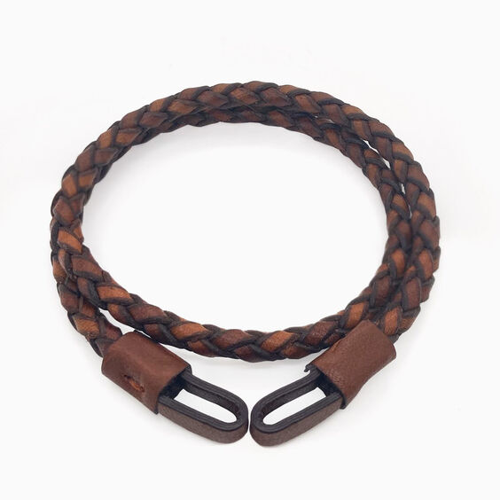 35cms Plaited Brown Leather Bracelet | Annoushka jewelley