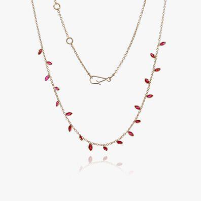 18ct Gold Ruby Vine Leaf Necklace