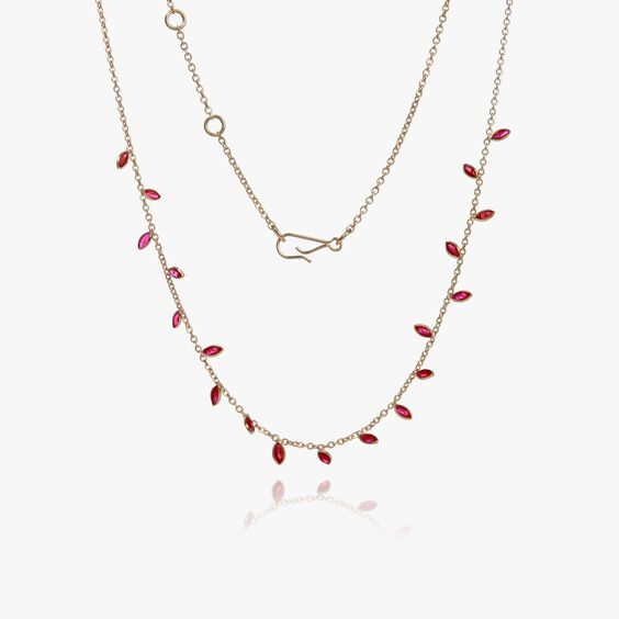 18ct Gold Ruby Vine Leaf Necklace | Annoushka jewelley