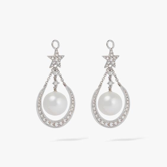 18ct White Gold &  Diamond Pearl Earring Drops | Annoushka jewelley