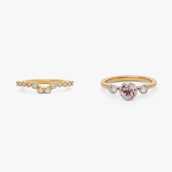 18ct Gold Morganite and Diamond Side Ring Stack | Annoushka jewelley