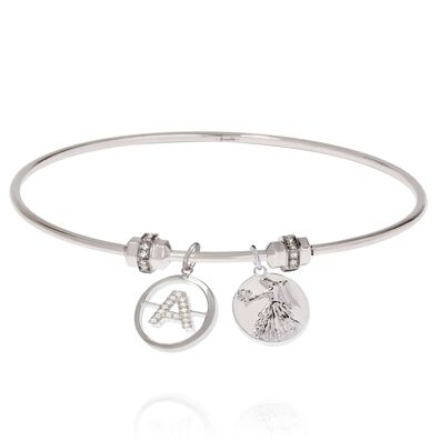 Mythology 18ct White Gold Initial and Zodiac Charm Bangle