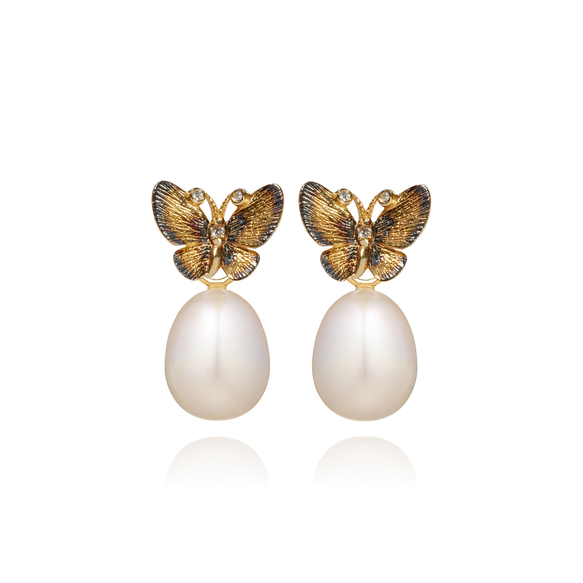 a86537178 18ct Gold Pearl Butterfly Earrings. Click to expand