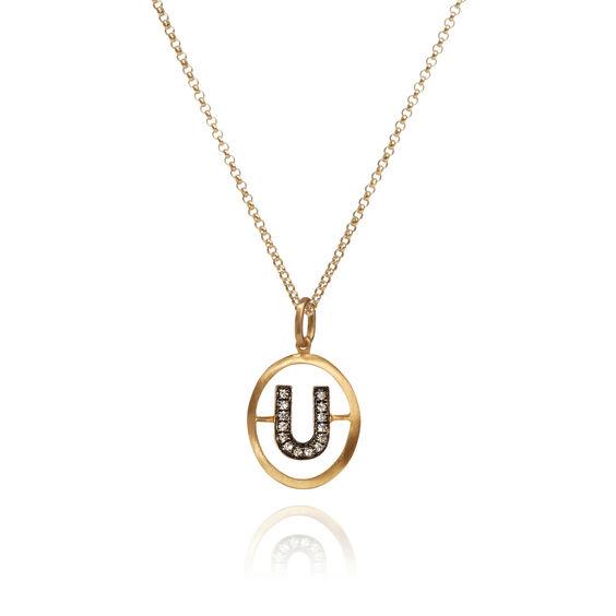 18ct Gold Diamond Initial U Necklace