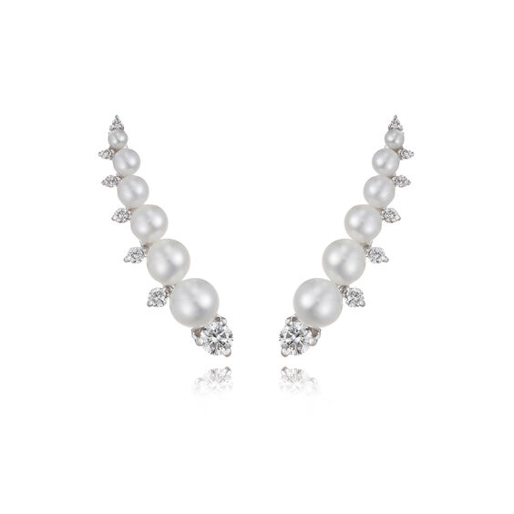 Diamonds & Pearls 18ct White Gold Ear Pins: An Online Exclusive