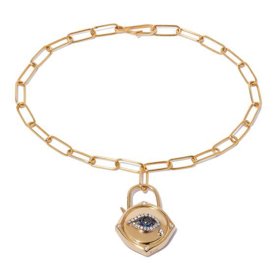 Lovelock 14ct Gold Mini Cable Chain Evil Eye Charm Bracelet | Annoushka jewelley