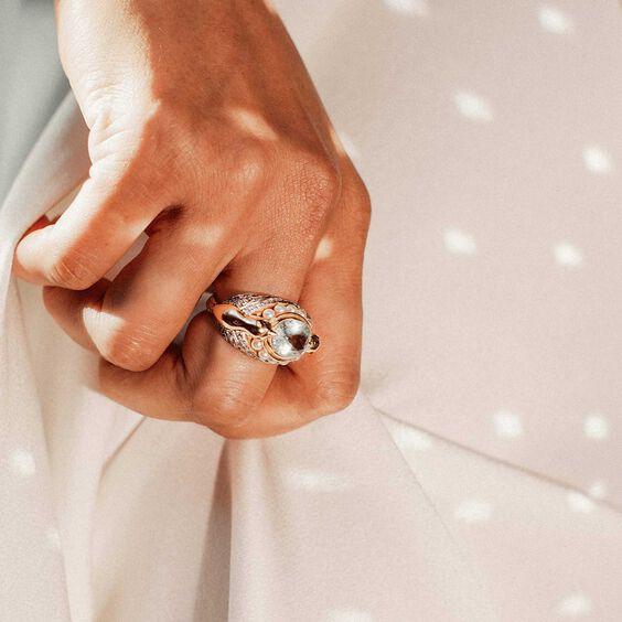 18ct Gold Aquamarine Diamond Lovebirds Ring