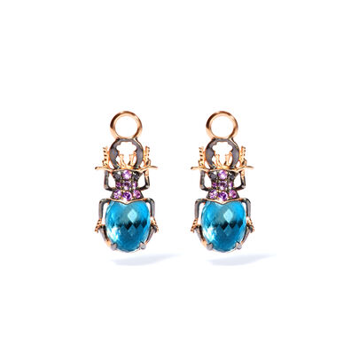 Mythology 18ct Rose Gold Topaz Beetle Earring Drops