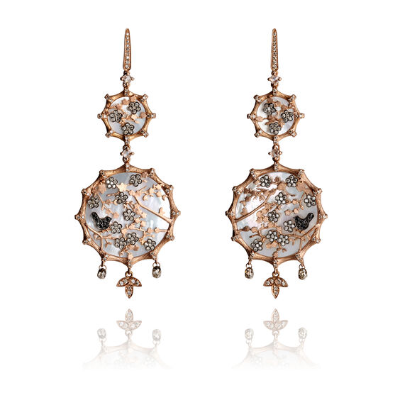 Dream Catcher 18ct Rose Gold Pearl Earrings | Annoushka jewelley