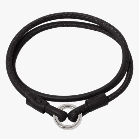 14ct White Gold Lovelink 35cms Black Leather Bracelet | Annoushka jewelley