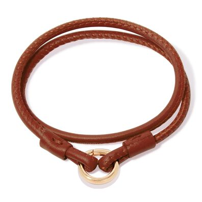 14ct Gold Lovelink 35cms Brown Leather Bracelet