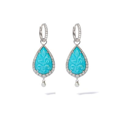 Unique 18ct White Gold Turquoise & Pearl Earrings