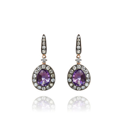 Dusty Diamonds 18ct Rose Gold Diamond Amethyst Earrings