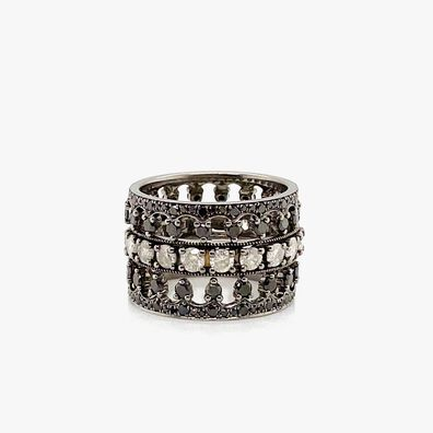 Dusty Diamonds 18ct White Gold Crown Ring Stack