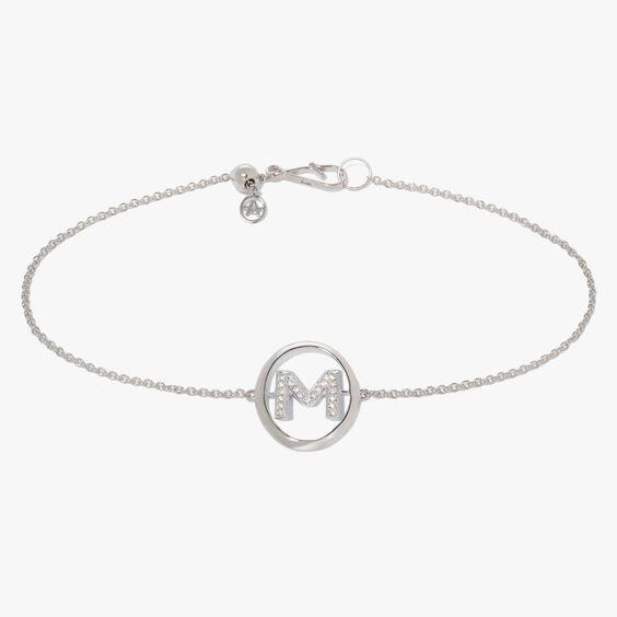 18ct White Gold Diamond Initial M Bracelet