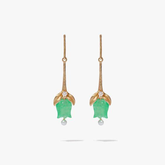 18ct Gold & Jade Tulip Earrings | Annoushka jewelley
