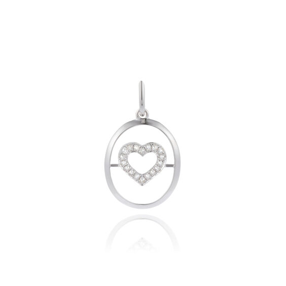 18ct White Gold Diamond Heart Pendant