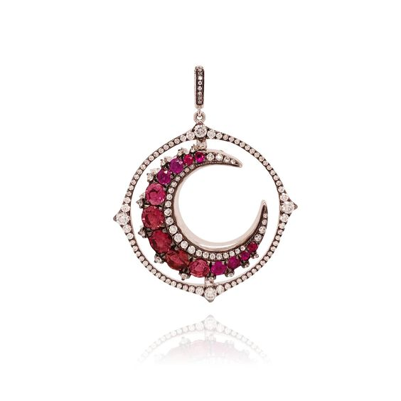Unique 18ct White Gold Pink Tourmaline Spinning Moon Pendant | Annoushka jewelley