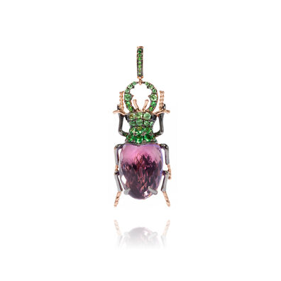 Mythology 18ct Rose Gold Amethyst Beetle Charm