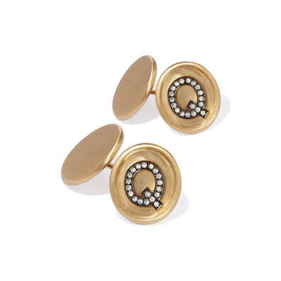 18ct Satin Gold Diamond Initial Q Cufflinks