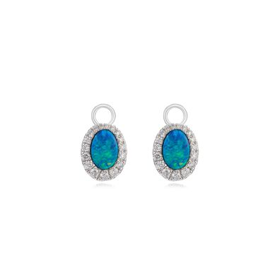 Unique 18ct White Gold Opal Earring Drops