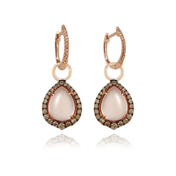 18ct Rose Gold Rose Quartz Diamond Earring Drops