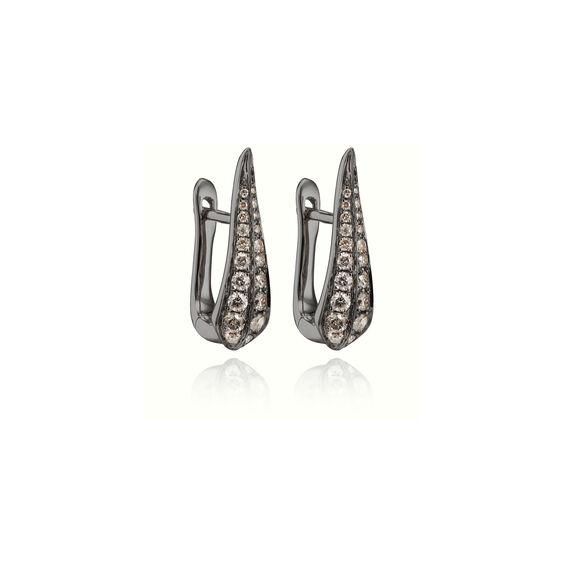 18ct White Gold Brown Diamond Hoop Earrings