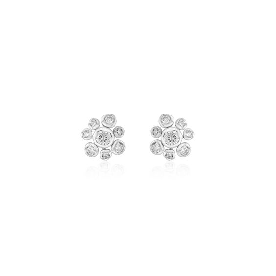 Marguerite 18ct White Gold Diamond Small Stud Earrings | Annoushka jewelley