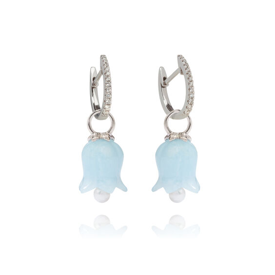 18ct White Gold Aquamarine Tulip Earrings | Annoushka jewelley