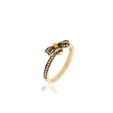 Love Diamonds 18ct Gold Diamond Bee Ring