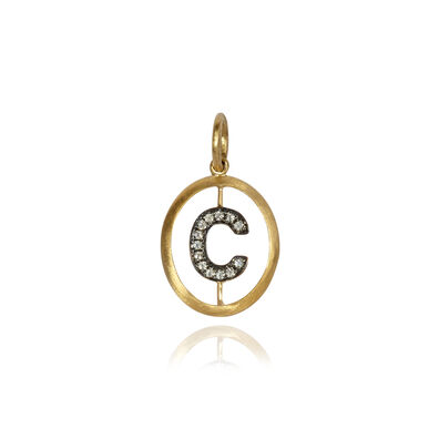 18ct Gold Diamond Initial C Pendant