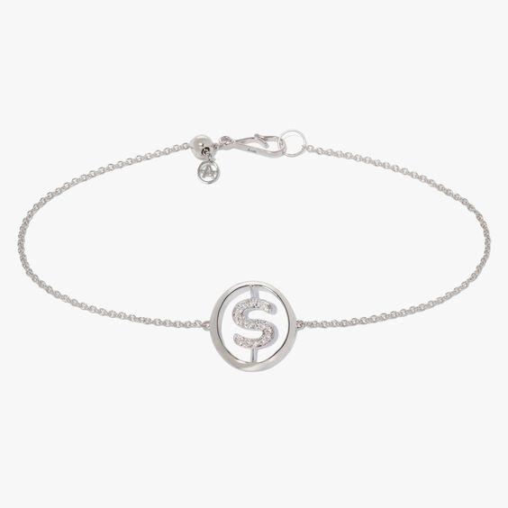 18ct White Gold Diamond Initial S Bracelet