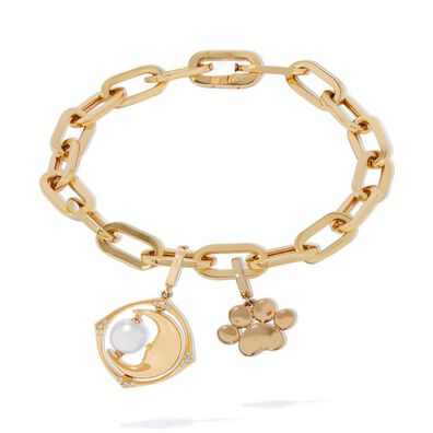 18ct Gold Pearl Spinning Moon and Paw Charm Bracelet