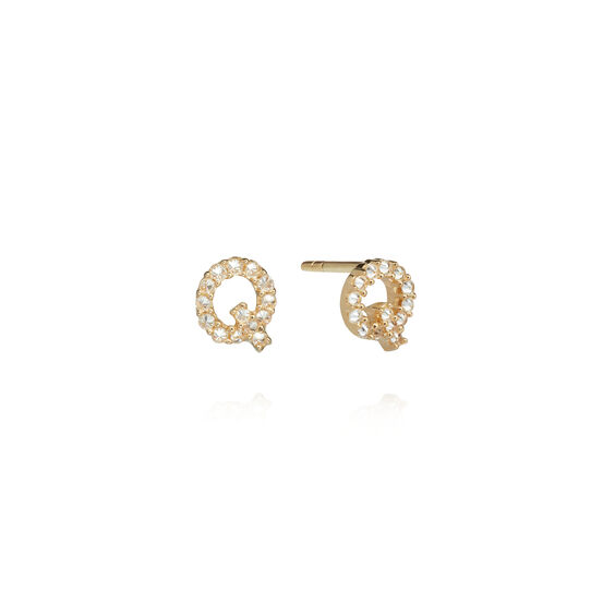 A pair of 18ct Gold Diamond Initial Q Stud Earrings