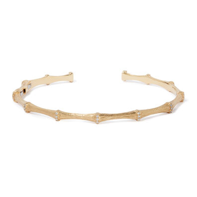 Bamboo 18ct Gold Diamond Bangle