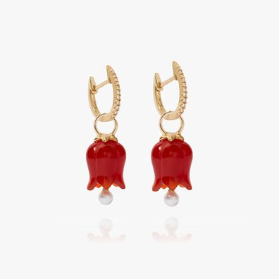 18ct Gold Red Agate Pearl Tulip Earrings