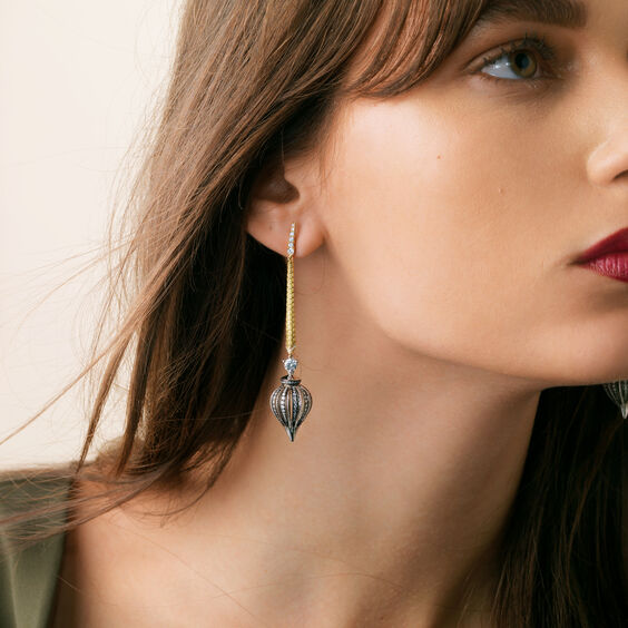 Touch Wood 18ct Gold Diamond Drop Earrings | Annoushka jewelley