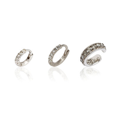 Dusty Diamonds 18ct White Gold Diamond Ear Trio
