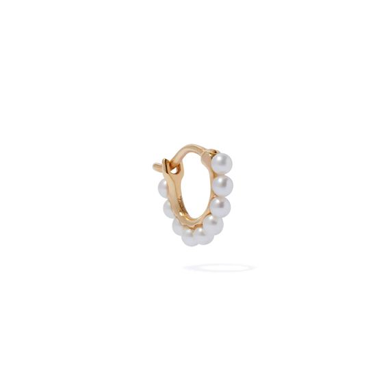 18ct Gold Pearl Hoop Mini Earring | Annoushka jewelley