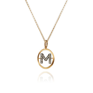18ct Gold Diamond Initial M Necklace