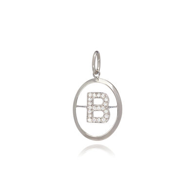 18ct White Gold Initial B Pendant