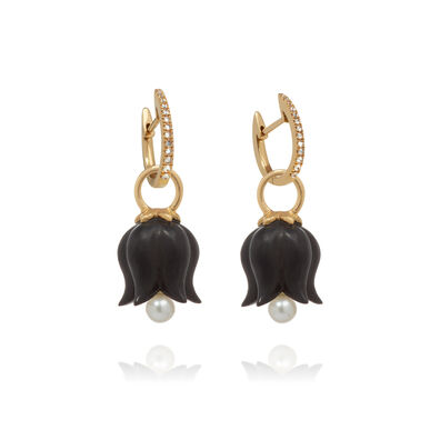 18ct Gold Ebony Pearl Tulip Earrings