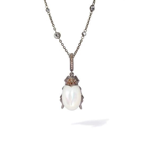 Mythology 18ct White Gold Pearl Beetle Pendant