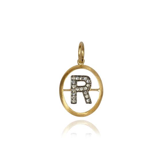 18ct Gold & Diamond Initial R Pendant   Annoushka jewelley