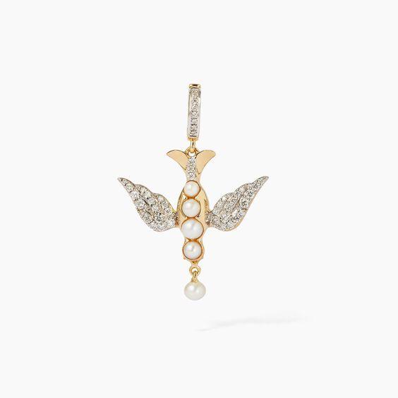 18ct Gold Pearl Diamond Lovebirds Charm
